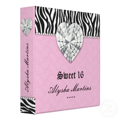 Photo Album Zebra Lace Heart Diamond Pink 3 Ring Binder